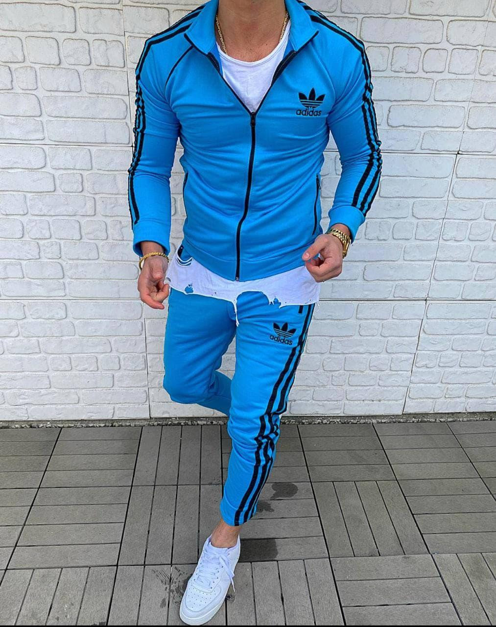 Спортивний костюм чоловічий адідас синього кольору adidas блакитний кофта+штани чоловічий одяг