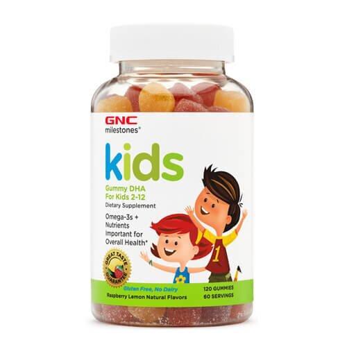 Омега-3, Для детей 2-12 лет, GNC Kid's DHA Gummy 120 жевательных конфет
