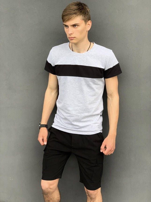 """Футболка """"Color Stripe"""" серая - черная + Шорты Miami Черные Intruder. Комплект летний мужской, фото 2"""
