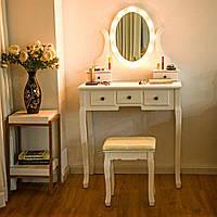 Туалетный столик с зеркалом с подсветкой В-054 L красная табуретка