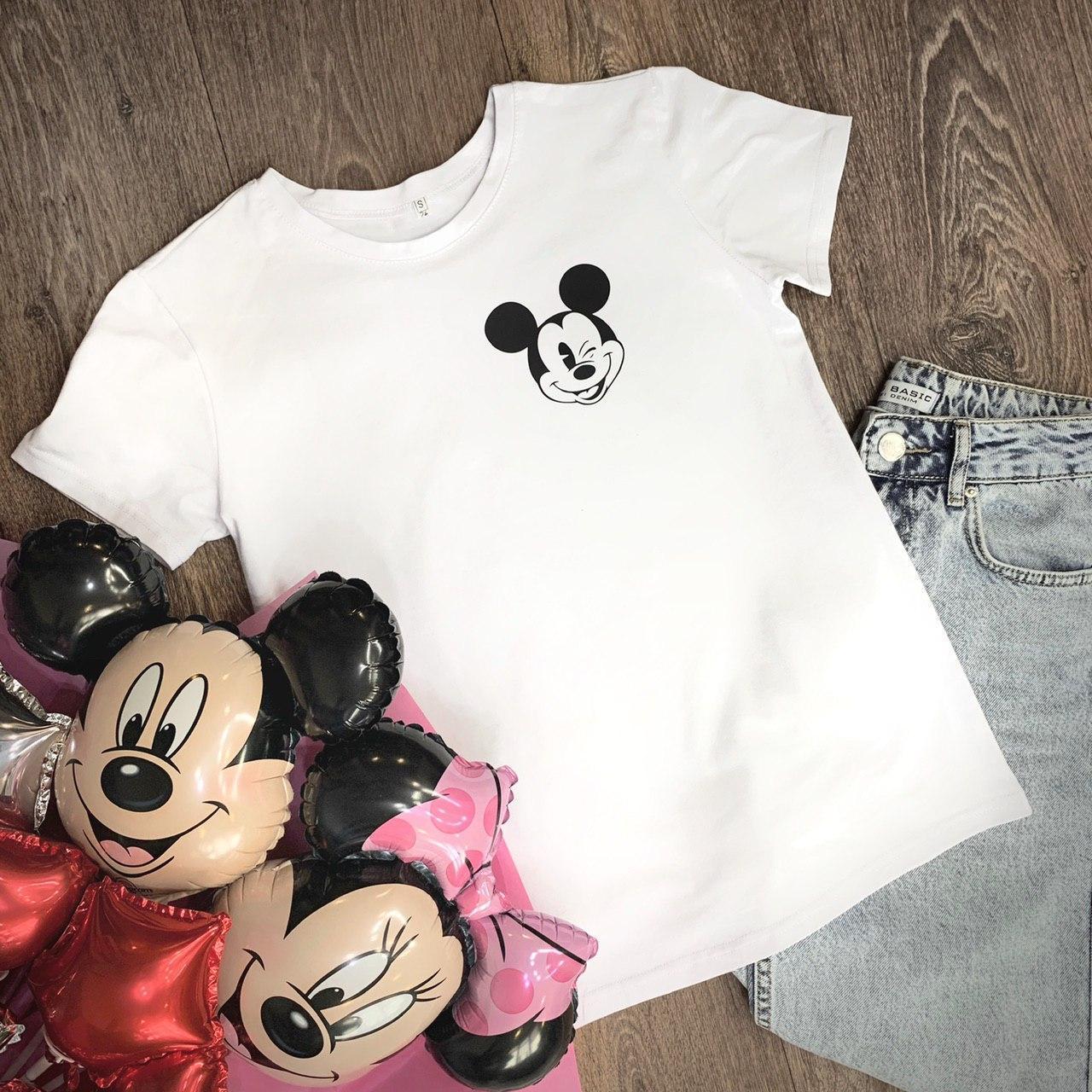 Футболка Женская хлопок белая с принтом Mickey Mouse микки маус