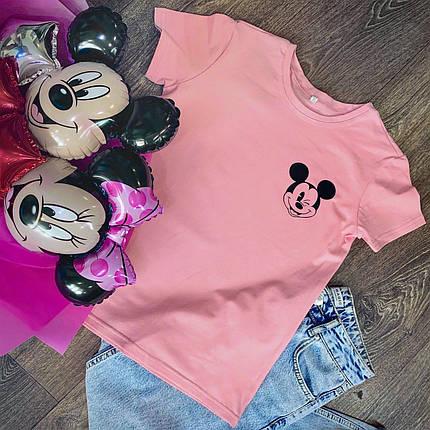 Футболка Жіноча бавовна рожева з принтом Mickey Mouse міккі маус, фото 2