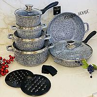 Набор кастрюль (казанов) Edenberg с гранитным покрытием 14 предметов. Набор кухонной посуды EB-8145