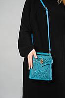 Кожаный мятный рюкзак ручной работы, сумочка-рюкзак с авторским тиснением, стиль бохо, фото 1