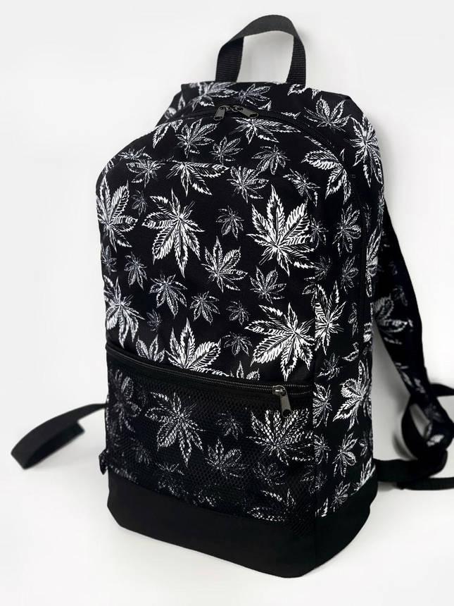 Рюкзак листики Городской для ноутбука черный-белый гербарий, фото 2