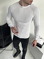 Кофта мужская весенняя осенняя Sweat белая | Свитер мужской вязанный в рубчик демисезонный ЛЮКС качества, фото 1