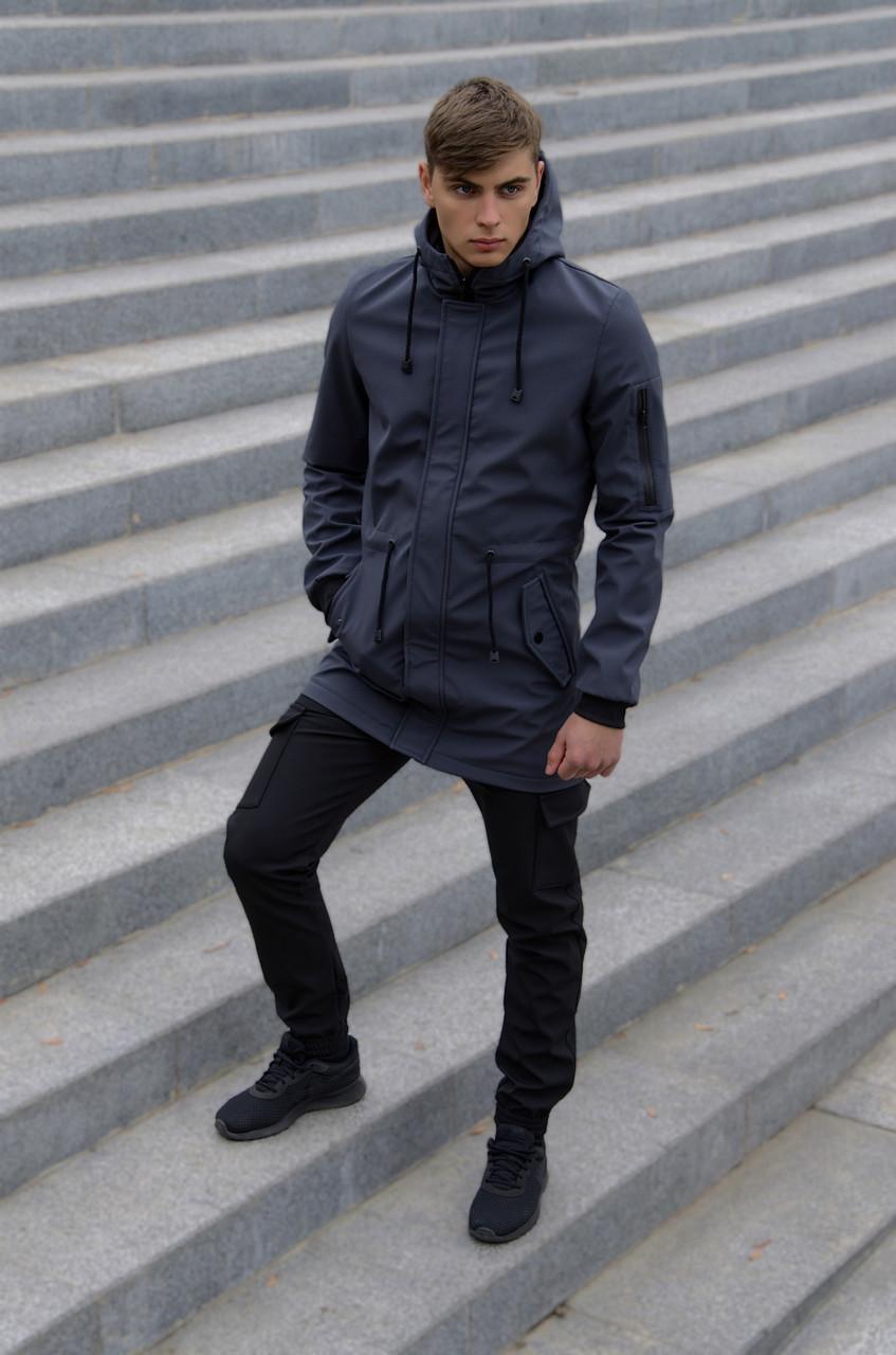 Костюм чоловічий сірий чорний демісезонний Intruder Softshell V2.0. Куртка чоловіча, штани утеплені + Ключниця