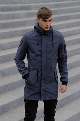 Костюм чоловічий сірий чорний демісезонний Intruder Softshell V2.0. Куртка чоловіча, штани утеплені + Ключниця, фото 2