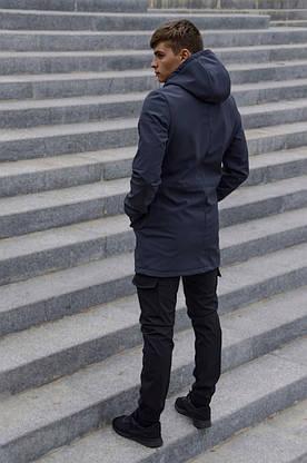 Костюм чоловічий сірий чорний демісезонний Intruder Softshell V2.0. Куртка чоловіча, штани утеплені + Ключниця, фото 3