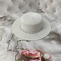 Шляпа канотье с цепочкой женская летняя белая