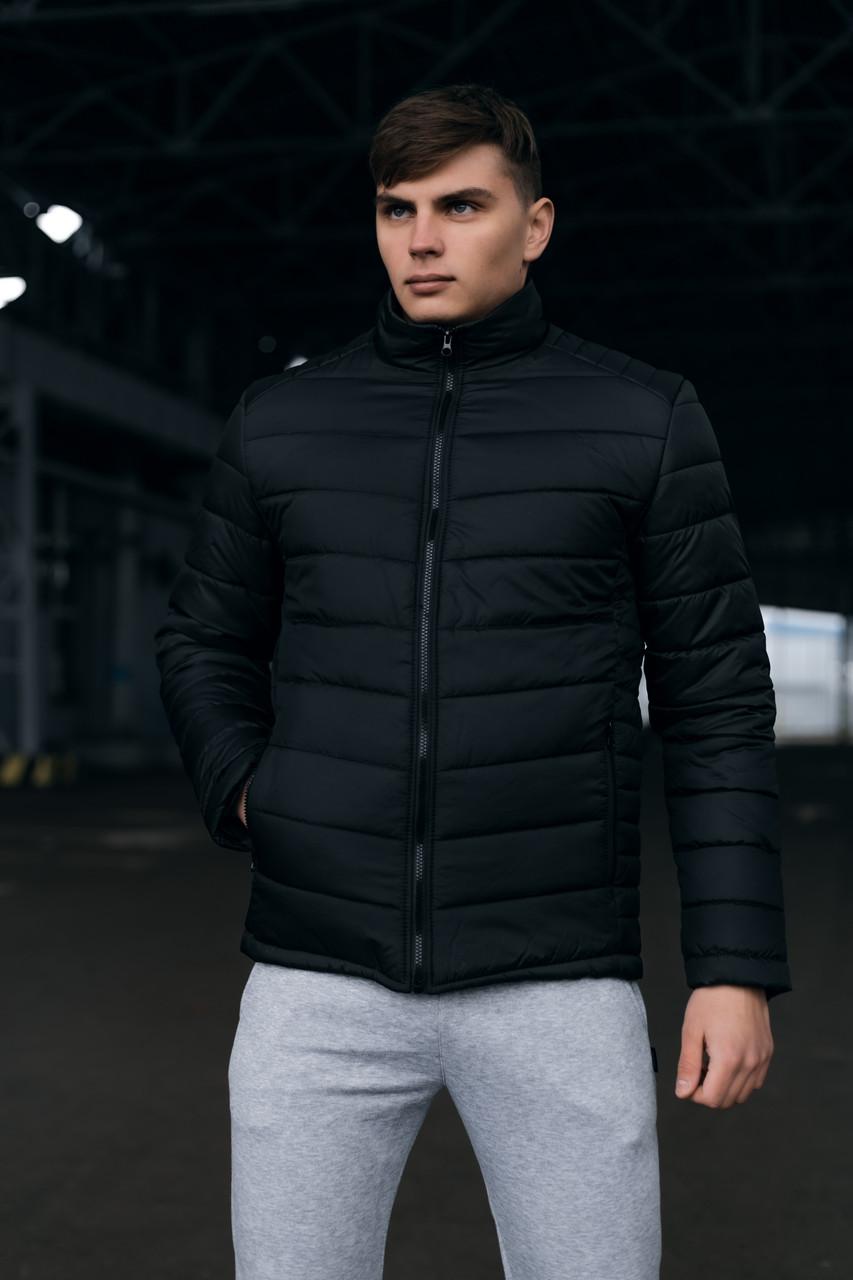 Чоловіча тепла чорна куртка (Весна - Осінь)