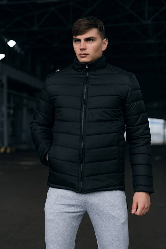 Чоловіча тепла чорна куртка (Весна - Осінь), фото 2