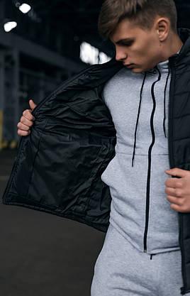Чоловіча тепла чорна куртка (Весна - Осінь), фото 3