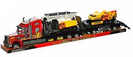 Трейлер грузовик автовоз с техникой на прицепе (88 см)