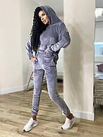 Жіночий стильний велюровий спортивний костюм з капюшоном (Норма і батал), фото 3