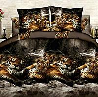 Постельное белье Евро размера спящие тигры