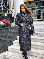 Стильне жіноче пальто, стьобана, чорне, 913-026-77