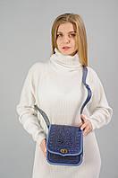 Женская кожаная сумка ручной работы (метод горячего тиснения), синяя сумка, фото 1