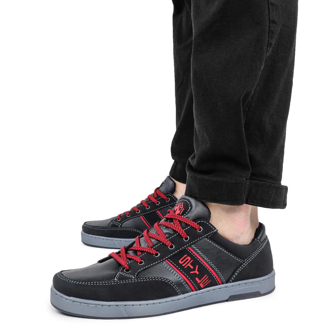 Кеды мужские Kindzer Style черные демисезонные кожзам 43 р. - 28,5 см (1356102177)