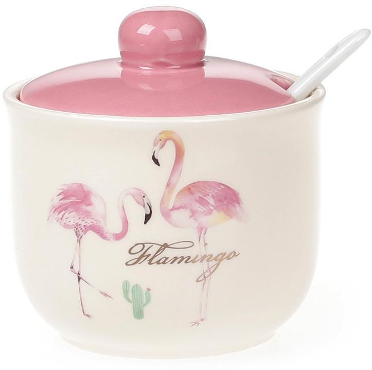 """Цукорниця керамічна """"Рожевий Фламінго"""" 350мл з порційній ложкою"""