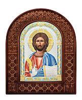 Серебряная икона Иисуса Христа в резном дереве с цветной эмалью из Греции