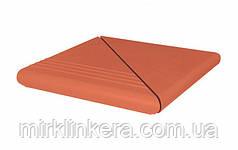 Клинкерная ступень King Klinker Антическая рифленная угловая деленная Ruby-red (01)