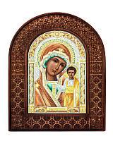 Серебряная икона Казанской Божьей матери в резном дереве с цветной эмалью из Греции