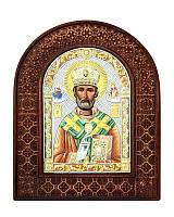 Серебряная икона Николая чудотворца в резном дереве с цветной эмалью из Греции