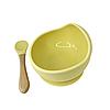 Силіконова тарілка на присоску з ложкою (Жовтий)