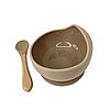 Силиконовая тарелка на присоске с ложкой (Коричневый)