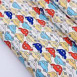 """Ткань сатин """"Мини машинки красные, жёлтые, голубые на белом"""", №2741с, фото 2"""