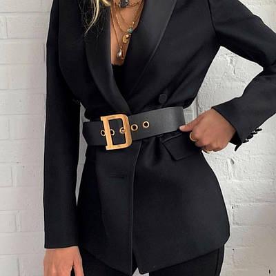 Пояс женский эко-кожаный ремень с люверсами черный широкий с золотой пряжкой