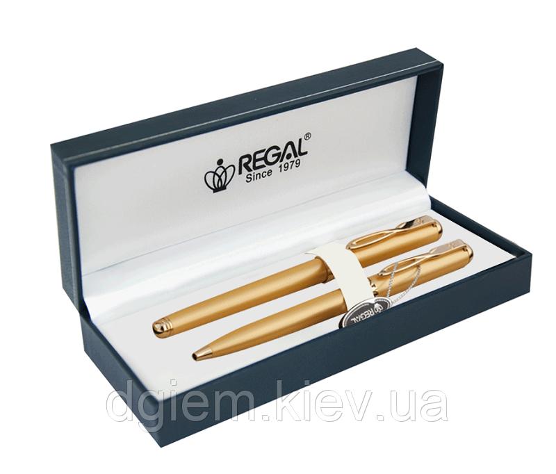 Набір ручок (перо+кулька) золото в подарунковому футлярі Regal