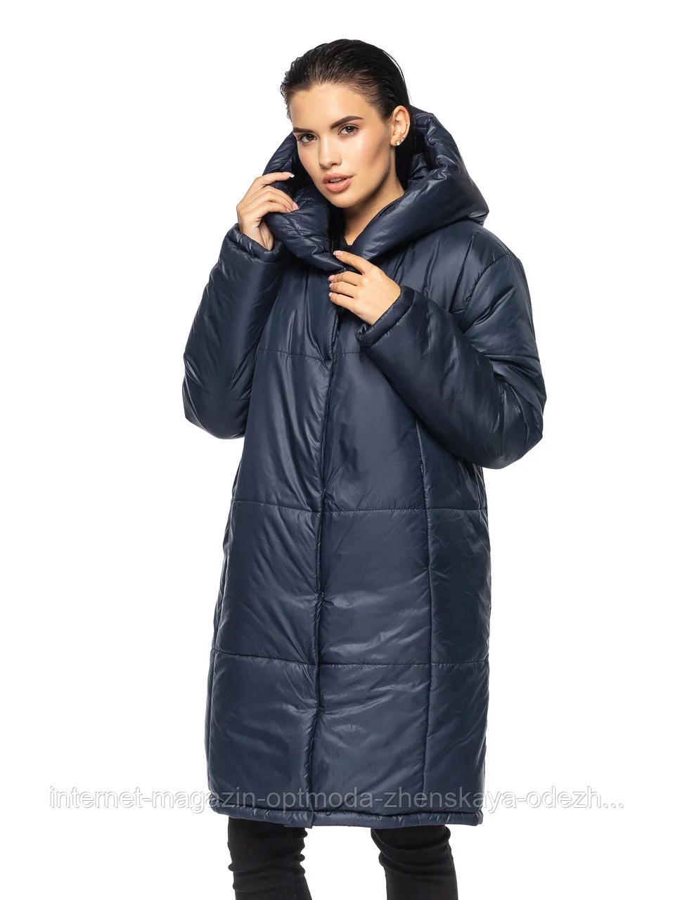 """Зимняя женская длинная куртка с вшитым капюшоном больших размеров """"Марго"""""""