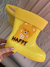 Желтые детские резиновые сапоги