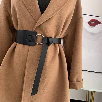 Ремень женский широкий ассиметричный эко-кожаный черный ремень петля