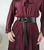 Ремень женский широкий ассиметричный эко-кожаный черный ремень петля, фото 3