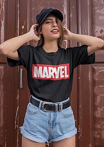 """Футболка чёрная женская с принтом """"Marvel"""""""