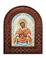 Серебряная икона Семистрельная Божья матерь в резном дереве с цветной эмалью из Греции