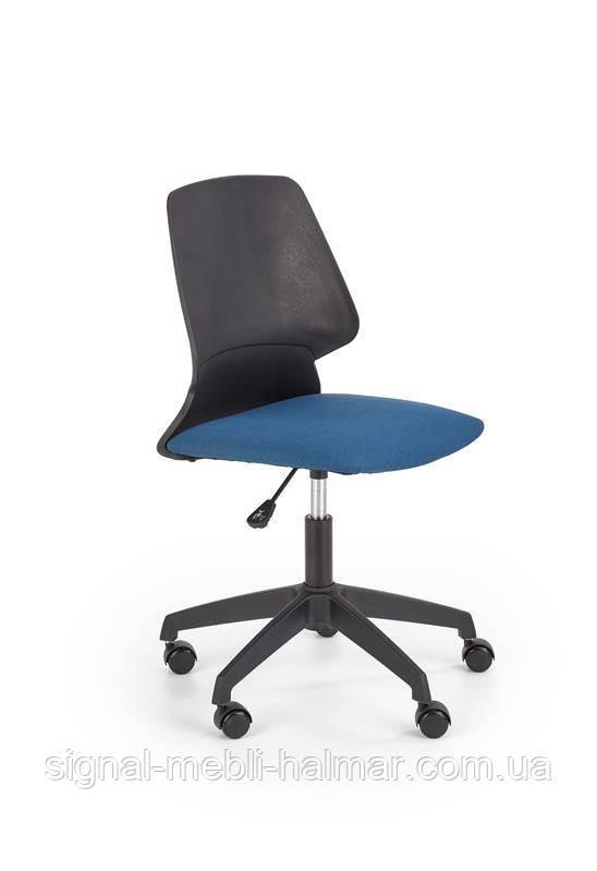Крісло GRAVITY для комп'ютера чорний / синій з тканини/поліпропілен (Halmar)