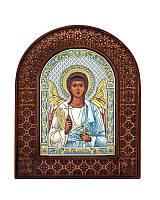 Серебряная икона Ангела Хранителя в резном дереве с цветной эмалью из Греции