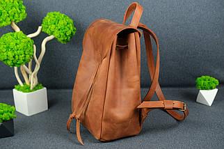 Рюкзак на затяжках с магнитом, размер средний Винтажная кожа цвет Коньяк, фото 3