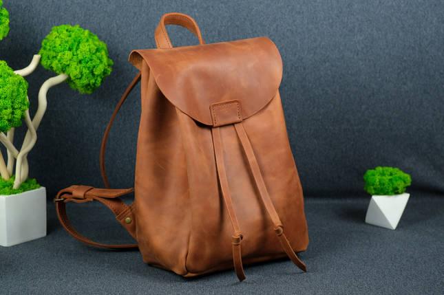 Рюкзак на затяжках с магнитом, размер средний Винтажная кожа цвет Коньяк, фото 2