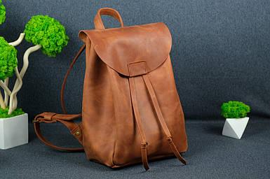 Кожаный рюкзак на затяжках с магнитом, размер средний Винтажная кожа цвет Коньяк