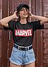 """Подарунковий жіночий набір. Футболка чорна з принтом """"Marvel"""", шкарпетки з принтом """"Marvel"""", фото 4"""