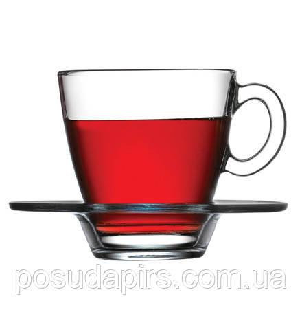 Набір чашок з блюдцем для чаю (6 шт.) 225 мл Aqua 95040