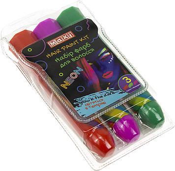 Набір фарб для волосся у формі олівця,світяться у темряві,3 кольори №MX60191(24)