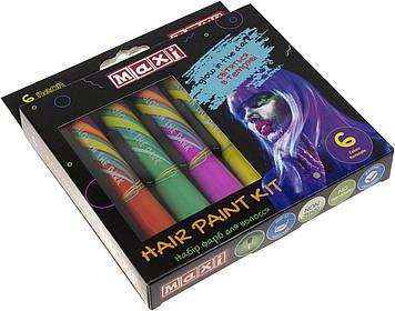Набір фарб для волосся у формі олівця,світяться у темряві,6 кольорів №MX60192(12)