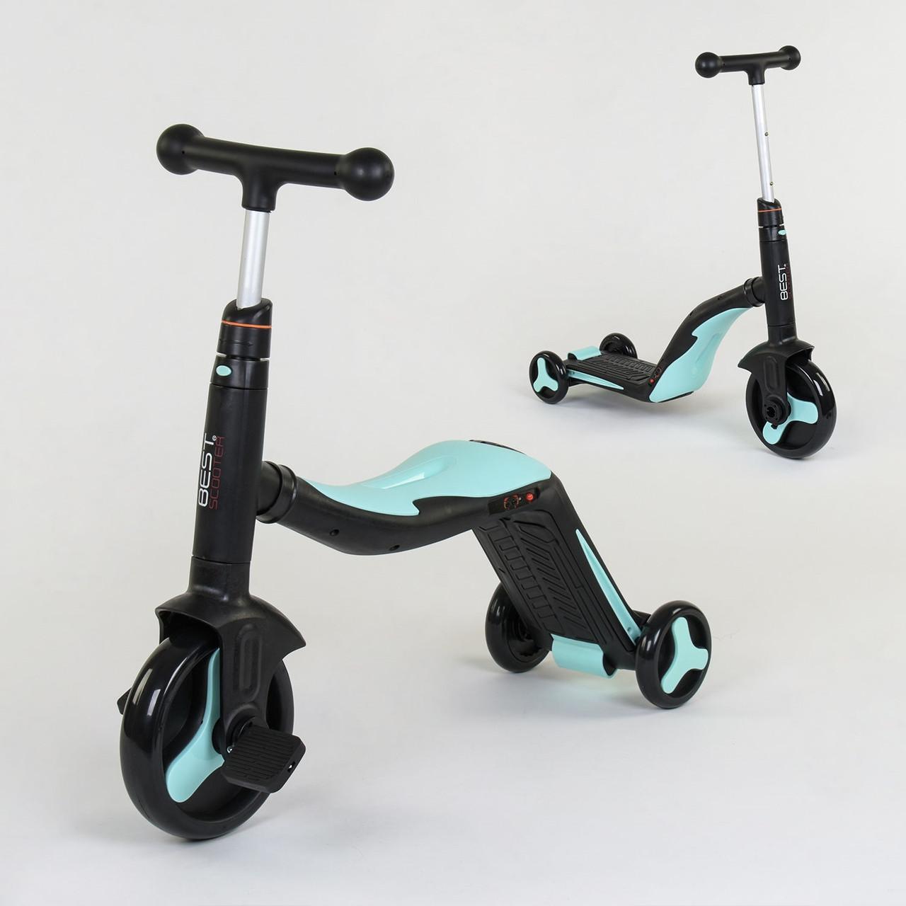 Самокат 3 В 1 Jt-20255 Best Scooter Самокат-Велобег-Велосипед 8 Мелодий Голубой