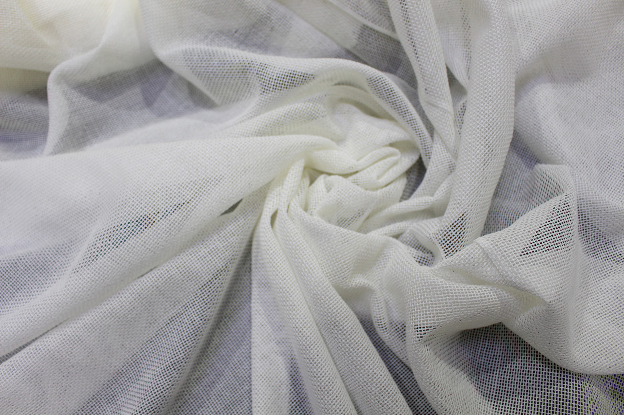 Тюль однотонный натуральное плетение цвет молочный